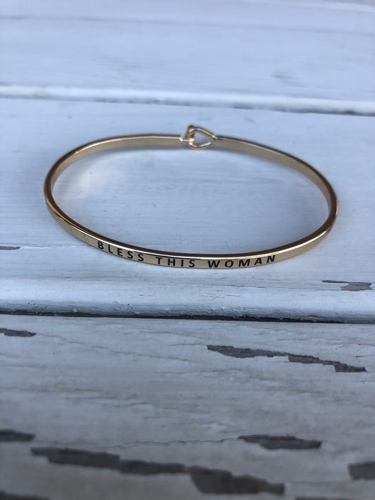 Bless This Woman Inspirational Gold Bangle Bracelet