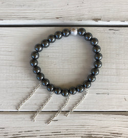 Handmade Beaded Bracelet - Metaliic Grey Beads w/Silver Bead and Silver Chains