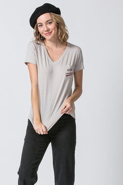 Alpaca Neutral Hello Sunshine Pocket V-Neck Tee  Take your outfit to the next level with OC Social Butterfly's hand selected, specially curated stylish tops. Shop dressy, casual and work related.  Ships from the USA, unique style, fashion trends, stripes, casual style