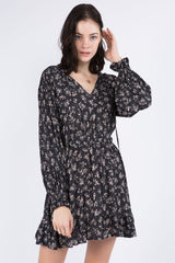 Charcoal Floral Print Long Sleeve Ruffle Dress