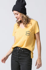 Mustard Yellow Naturally in #Love with Life Pocket V-Neck Tee  Take your outfit to the next level with OC Social Butterfly's hand selected, specially curated stylish tops. Shop dressy, casual and work related.  Ships from the USA, unique style, fashion trends, stripes, casual style