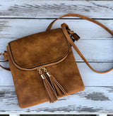 Camel Crossbody Purse w/Fold Over Tassle Flap and Inner Pockets and Back Zipper Pocket