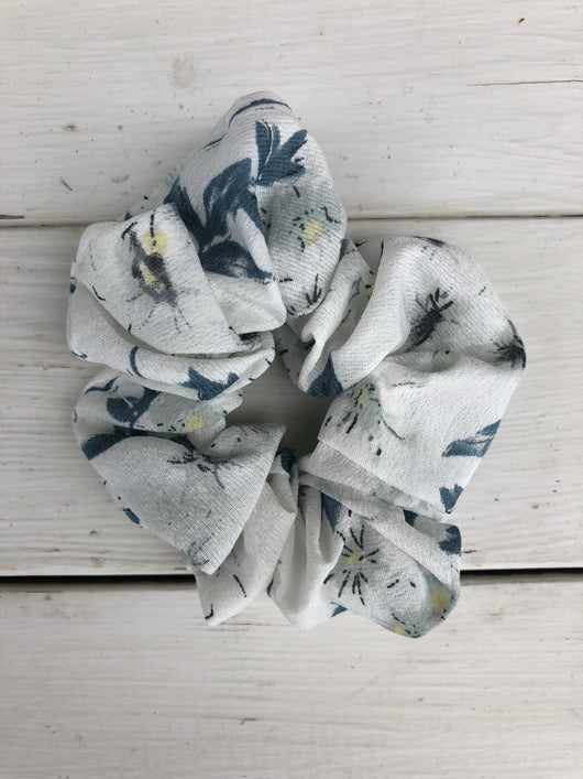 White & Shades of Blue Floral Hair Scrunchy