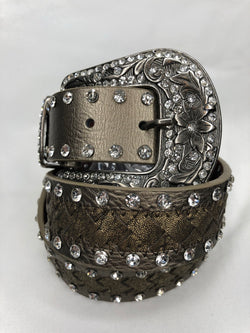 Brown/Pewter Rhinestone Genuine Leather Belt adds a little glitter to your outfit  You can't go wrong adding a cute belt to any outfit. Check out our latest stylish belts.  Ships from the USA, unique style, fashion trends, country girl, stagecoach festival belts