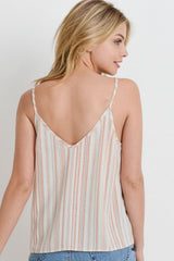 Natural, Orange and Grey Striped Poly Linen Button Down Tank Top