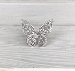 Butterfly Silver & Bling Large Ring makes a statement  Take your outfit to the next level with OC Social Butterfly's accessory collection. Currently obsessing over our stone rings in gold and silver.  Ships from the USA, unique style, fashion trends, bling, jewelry, butterfly ring,