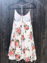 Be Cool Flowy Floral Tank Dress w/Pink and Turquoise