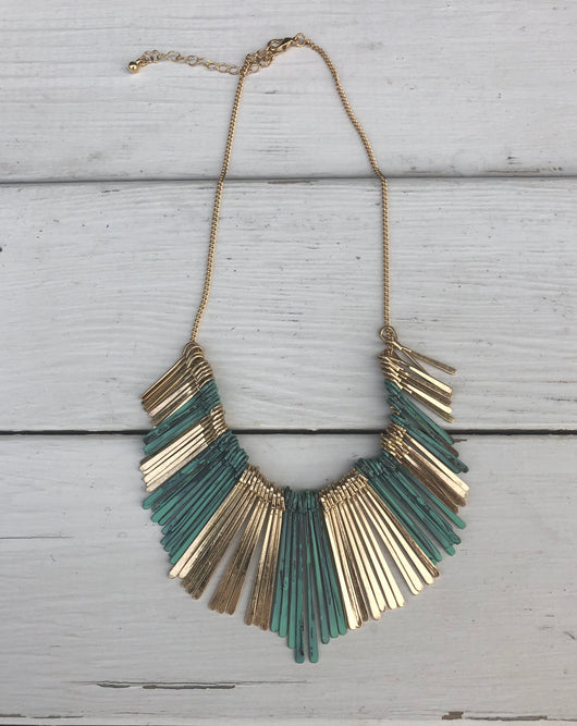 Gold & Turquoise Bohemian Necklace is a flattering bold look  Take your outfit to the next level with OC Social Butterfly's accessory collection. Currently obsessing over layered necklaces and unique bold styles  Ships from the USA, unique style, fashion trends, trending jewelry, necklaces, bold jewelry