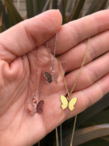"Gold Sweet Butterfly Necklace is Handmade & adjustable 16""-18"""