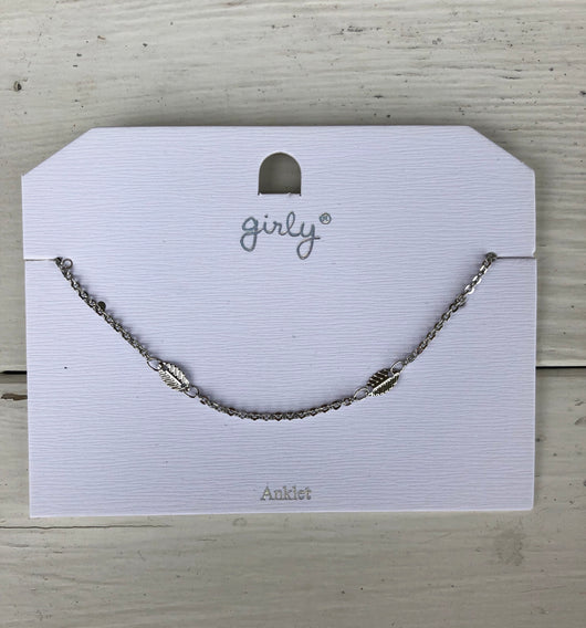 Silver Feather Anklet w/extender