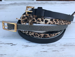 Set of 3 Thin Belts w/Leopard, Grey and Black and Gold Buckles   You can't go wrong adding a cute belt to any outfit. Check out our latest stylish belts.  Ships from the USA, unique style, fashionable belts, fashion trends, accent your outfit with belts, leopard print, animal prints