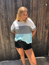 Tri-Blend Boxy Sea Blue/White Color Block Short Sleeve Top   Take your outfit to the next level with OC Social Butterfly's hand selected, specially curated stylish tops. Shop dressy, casual and work related.  Ships from the USA, unique style, fashion trends, stripes, casual style