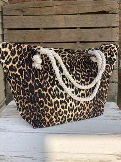 Leopard Lover Large Tote Bag w/Rope Straps and Zipper Closure