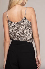 Leopard Cami in Taupe and Black by Naked Zebra is 100% Polyester. NEW ARRIVALS New for the season styles and breathtaking color palettes & Prints!  Ships from the USA, animal prints on trend styles, OC Social Butterfly boutique, dress it up or down.