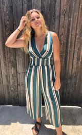 Teal & Cream V-Neck Jumpsuit with criss cross side detail