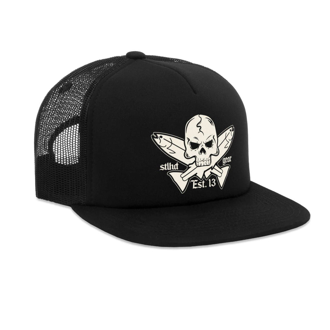 STLHD Jolly Roger Black Old School Foam Front Trucker Hat - hhoutfitter