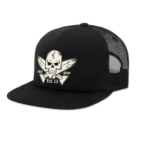 STLHD Jolly Roger Black Old School Foam Front Trucker Hat - H&H Outfitters