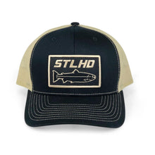 Load image into Gallery viewer, STLHD Gold Country Black/Vegas Gold Snapback Trucker Hat - hhoutfitter