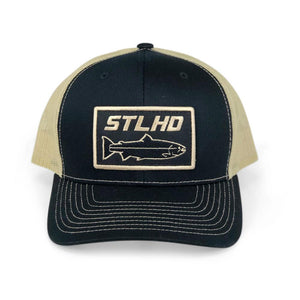 STLHD Gold Country Black/Vegas Gold Snapback Trucker Hat - hhoutfitter