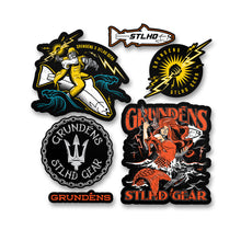 "Load image into Gallery viewer, STLHD X Grundens Logo Sticker Pack - 10"" x 10"""