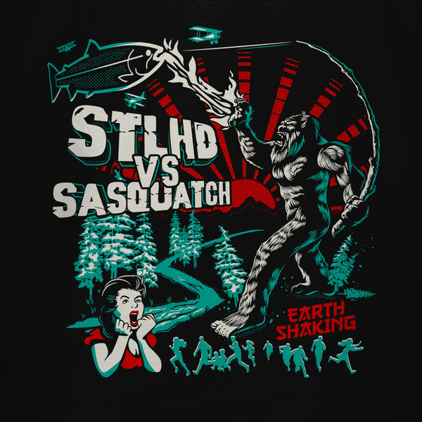 STLHD Men's VS Sasquatch Black T-Shirt - hhoutfitter