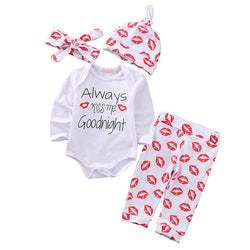 Cute 4PC Girls L/S Romper Pants Hat Headband