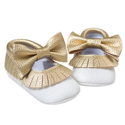 Baby Gold Shoes Soft Sole Moccasin PU leather Slip-on First Walker