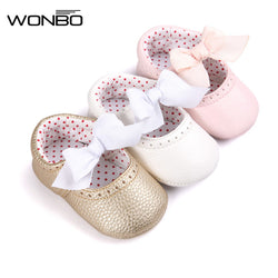 Soft Bottom Fashion Butterfly-knot Baby Moccasin Newborn Babies Shoes PU Leather Prewalkers Boots Non-slip