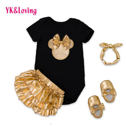 4pcs Golden Ruffle Set includes Romper, Ruffle Bloomers, Shoes & Headband