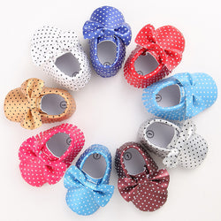 Newborn Fashion Polka Dot PU Leather Moccasin Shoes