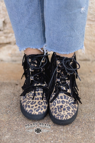 Just My Luck Chucks Fringe Leopard High Top Shoe