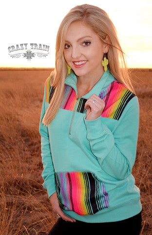 Pony Express Pull Over- Turq