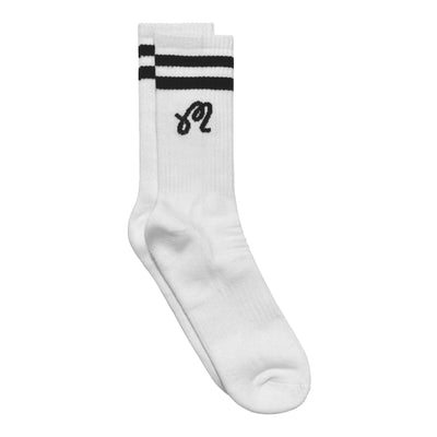 """M"" Logo Striped Crew Sock - Malbon Golf"