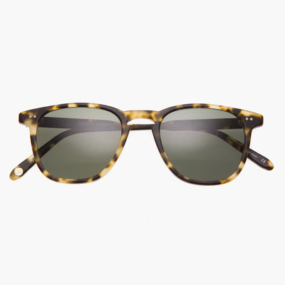 Garrett Leight Brooks 47 in Matte Tokyo Spotted Tortoise with G15 Polarized Glass