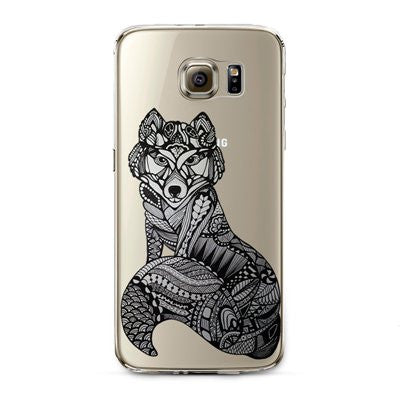 Henna Wolf Transparent Cute Animal Phone Case for Samsung Galaxy