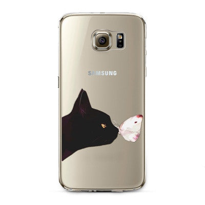 Black Cat and Butterfly Transparent Cute Animal Phone Case for Samsung Galaxy