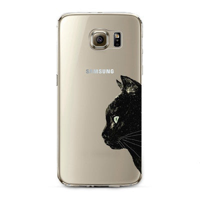 Black Cat Transparent Cute Animal Phone Case for Samsung Galaxy