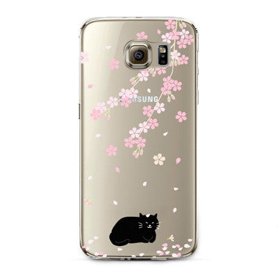 Cherry Blossom Black Cat Transparent Cute Animal Phone Case for Samsung Galaxy