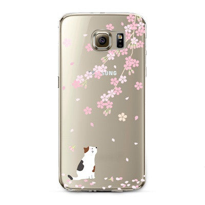 Cherry Blossom White Cat Transparent Cute Animal Phone Case for Samsung Galaxy