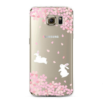 Cherry Blossom Bunnies Transparent Cute Animal Phone Case for Samsung Galaxy