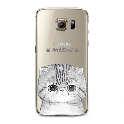Meow Kitty Transparent Cute Animal Phone Case for Samsung Galaxy