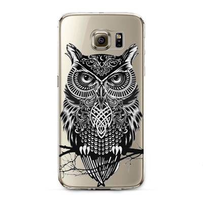 Perched Owl Transparent Cute Animal Phone Case for Samsung Galaxy