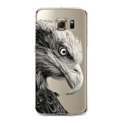 Bald Eagle-Left Side Transparent Cute Animal Phone Case for Samsung Galaxy