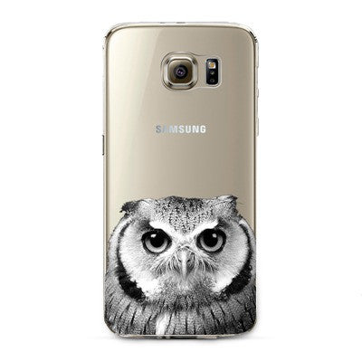 Owl Transparent Cute Animal Phone Case for Samsung Galaxy
