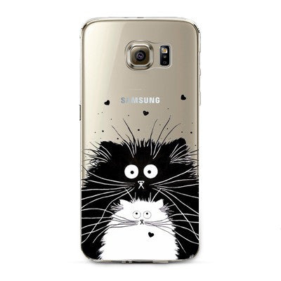 Black and White Cats Transparent Cute Animal Phone Case for Samsung Galaxy