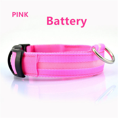 Pink Battery Light Up LED Safety Collar