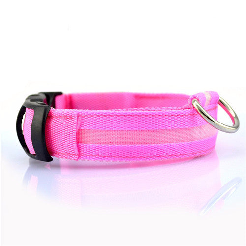 Pink USB Rechargeable Light Up LED Safety Collar
