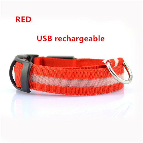 Red USB Rechargeable Light Up LED Safety Collar