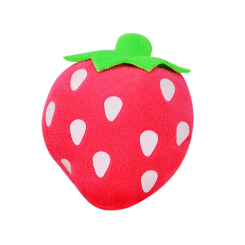 Strawberry Dog Cat Squeaky Chew Toy