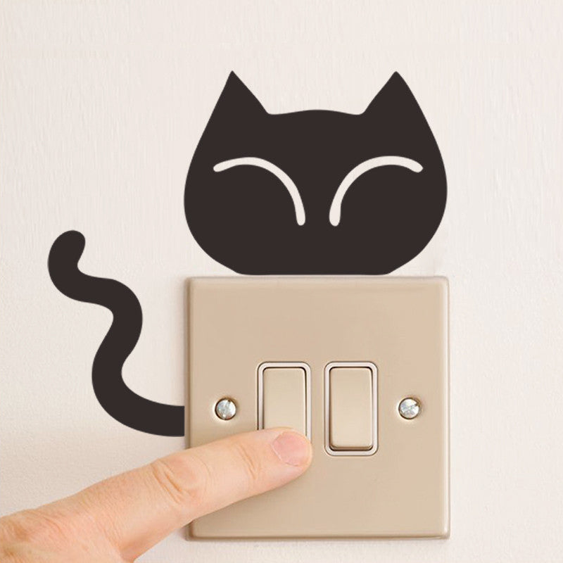 Black Cat Tail Wiggle Cute Animal Wall Stickers